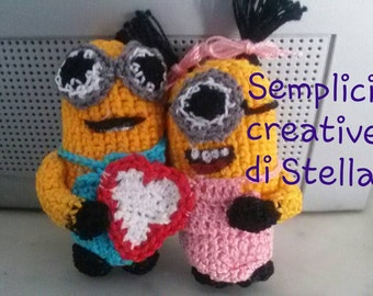 Minions boy and lady crocheted for Valentine's day!