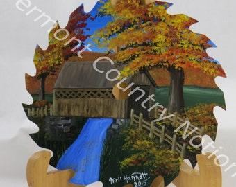 Painted Sawblade, Hand painted covered bridge, Autumn scene, fall foliage vermont, metal art