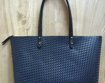 Leather Tote, Embossed Leather Bag, Navy leather tote, Navy Leather Purse