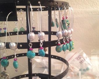 Turquoise Pearl Summer Earring Handmade