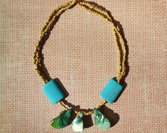 Turquoise and Shell Necklace