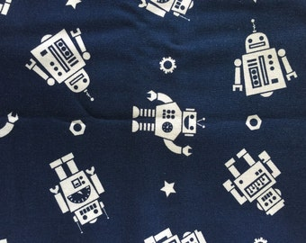 Personalized Navy Magic Moon Robot Minky Baby Blanket