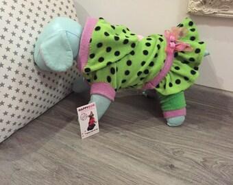 Bright green polka dot and pink dog pajamas with hoodie Girl dog costume