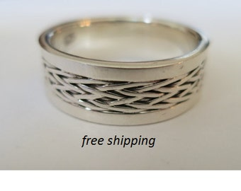 Men's silver band ring,  92.5 sterling silver