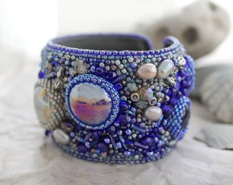 "Beadwork Bracelet ""North Sea"". Embroidered Bracelet. Beadwork jewelry. Beaded embroidery Braslet. Sea Style Jewetry. Blue grey braslet."