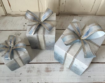 Christmas Shabby-Chic Blue Stackable Tin Box's