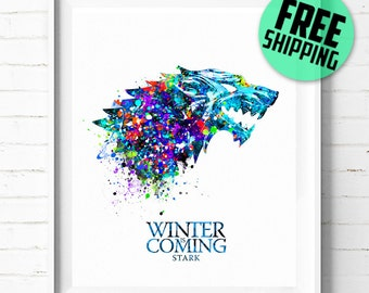 Game of Thrones art print, House Stark poster, Game of Thrones watercolor art, wall art, office decor, birthday gift 471