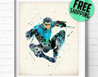 Batman print, Batman poster, Superhero print, Nightwing poster, DC Comics print, Batman watercolor, Superhero wall art, Superhero poster 240