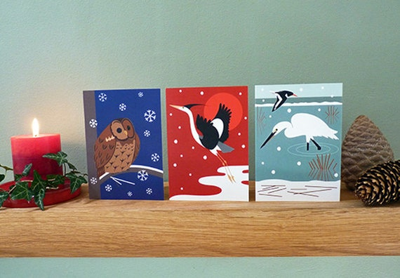 Christmas Bird Cards: Tawny owl, Heron, Little Egret - set of 3