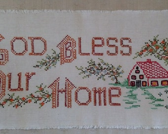 """Unframed Cross Stitched Sampler ~ """"God Bless Our Home"""" ~ 22-1/2"""" x 10-1/2"""" ~ Made from a Bucilla Kit ~ 1970s"""