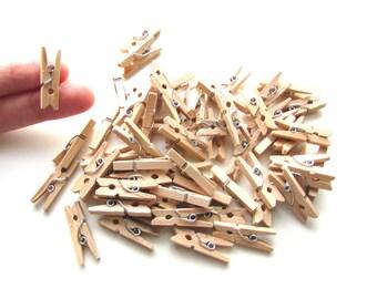 60 Mini pegs natural wood 25mm. Miniature pegs memo clips.  UK Seller