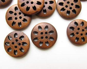 "8 Large brown buttons - 25mm 1"" wooden buttons - Large sewing buttons - Bohemian buttons - Hipster buttons - Vintage style brown buttons"
