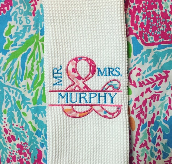 Lilly pulitzer kitchen towel dish towel applique mr mrs for Lilly s craft kitchen