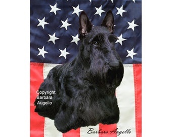 Scottie Patriotic Flag, Scottie Art, Scottie Gift, Scottish Terrier