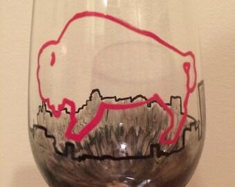 Custom city skyline wine glass