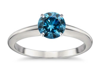 1/2ct Solitaire Round Blue Diamond 14k White Gold 4 Prong Classic Ring