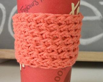 Coral Cup Sleeve, Crochet Coffee Cup Sleeve, Mug Cozy