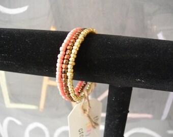 Coral, Bronze & Gold Beaded Bracelet - Memory Wire Wrap Bracelet