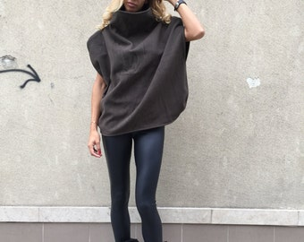 Brown Cashmere Warm Blouse, Cashmere Poncho Top, Turtleneck Extravagant Top, Oversized Blouse By SSDfashion