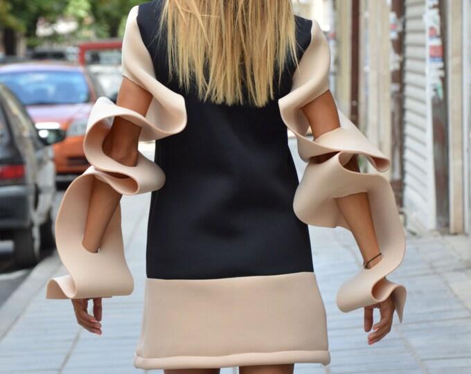 Asymmetric Neoprene Maxi Tunic, Thumb Holes Sexy Warm Top, Extravagant Sleeve, Plus Size Maxi Tunic By SSDfashion