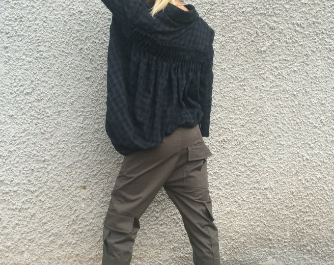 Women's Military Pants, Cotton Plus Size Pants, Drop Crotch Harem Pants, Extravagant Trousers, Wide Leg Pants By SSDfashion