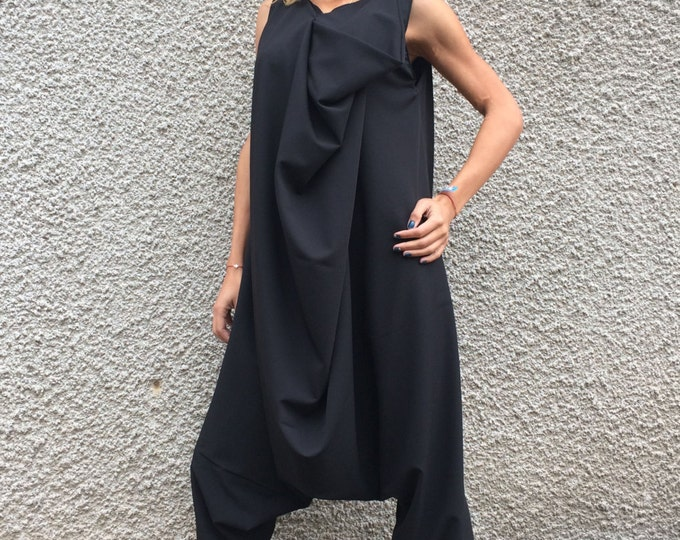 Black Cotton Harem Jumpsuit, Wide Leg Maxi Romper, Extravagant Loose Casual Jumpsuit With Zipper by SSDfashion