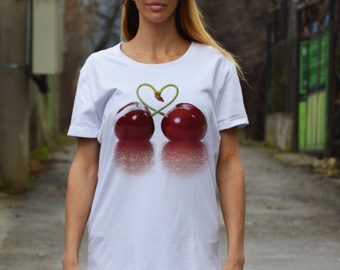 Sexy Short Sleeves White T-shirt, Cherries Print Cotton T shirt, Extravagant Plus Size Top by SSDfashion