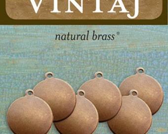 Metal Stamping Blanks 13mm Circle Stamping Blanks Vintaj Made in the USA Natural Brass Bronze 6 pack 24 gauge