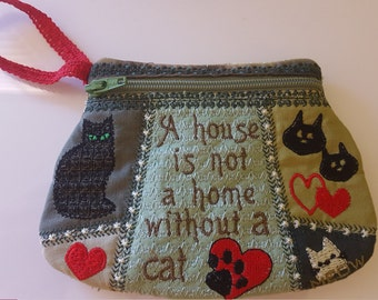 Small Pouch Cats / Purse Cats embroidery design. In a hoop machine embroidery design