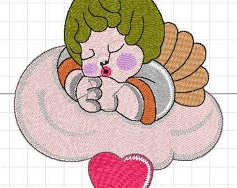 Thun cloud heart machine embroidery