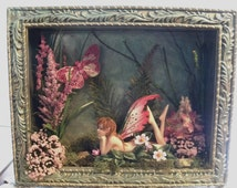 Brilliant Colored Wings on an Amy Brown Fairy in Embossed Metal Shadowbox