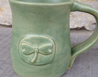 Green Dragonfly Pottery mug