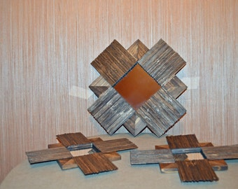 Wooden Decorative Mirrors-set of 3