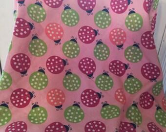 Receiving Blanket & 2 Burp Cloths, Lady Bugs, Pink, Maroon, Polk-a-dots