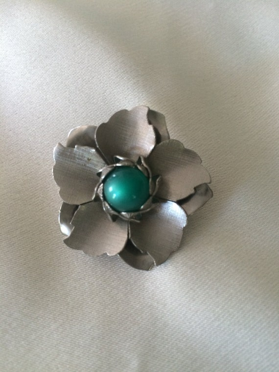 Pewter Flower Brooch with Glass Center
