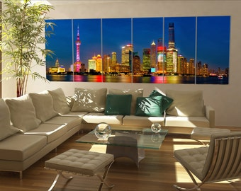 Shanghai skyline panorama Shanghai skyline panorama at dusk China 6 panels / boards  Large panorama panoramic canvas wall art art