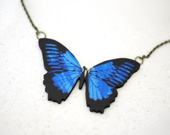 Handmade Butterfly Necklace in BLUE