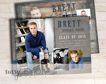 PHOTOSHOP TEMPLATE, Instant Download - Brett Graduation Announcement