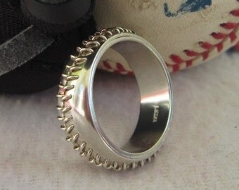 Sterling silver hand-stitched baseball ring, engagement, wedding band