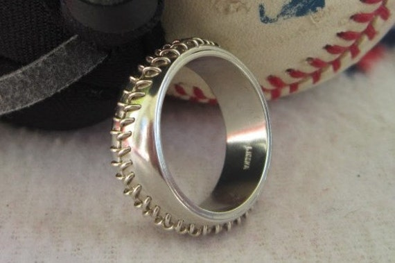 Sterling Silver Hand Stitched Baseball Ring Engagement Wedding Band