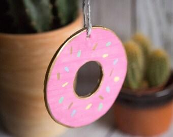 Doughnut Wall Hanging - Ornament - Decoration - Donut - Clay - Gold Leaf