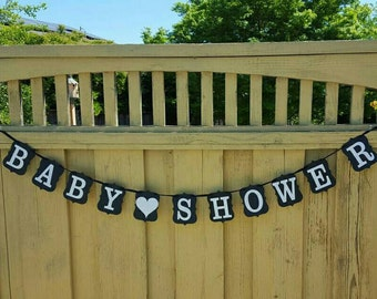 Black and White Baby Shower Banner