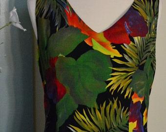 1980 KC Spencer, New York Red Anthrium Tropical Flower Print Dress