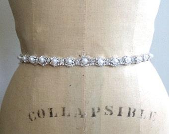 Pearl Bridal Sash-Pearl Bridal Belt-Bridesmaid Belt Pearl-Bridesmaid Sash Pearl-Pearl Rhinestone Bridal Sash Belt-Beaded Wedding dress Sash