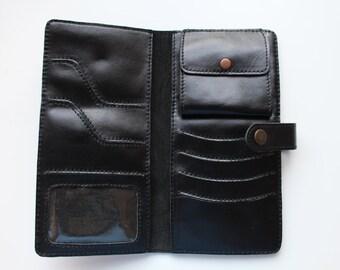 KAPTAL Compact Wallet in BLACK