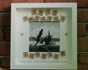 best friends photo frame best friends picture frame best friends forever scrabble style friends photo frame scrabble frame frirend gift