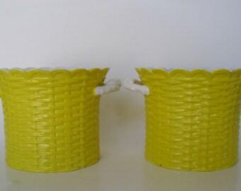Italian Porcelain Cachepots, Pair