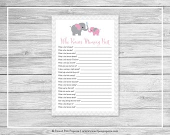 Elephant Baby Shower Who Knows Mommy Best Game - Printable Baby Shower Who Knows Mommy Best Game - Pink and Gray Elephant Baby Shower -SP101