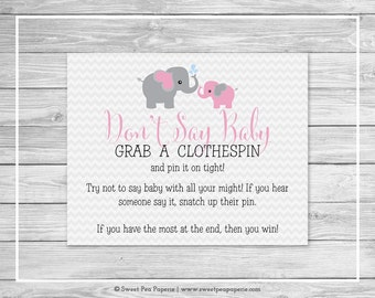 Elephant Baby Shower Don't Say Baby Game - Printable Baby Shower Don't Say Baby Game - Pink and Gray Elephant Baby Shower - SP101