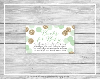Mint and Gold Baby Shower Book Instead of Card Insert - Printable Baby Shower Books for Baby - Mint and Gold Glitter Baby Shower - SP108